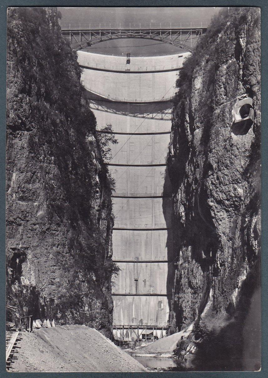 diga di Santa Giustina-cartolina 1952 foto Francesco Visintainer
