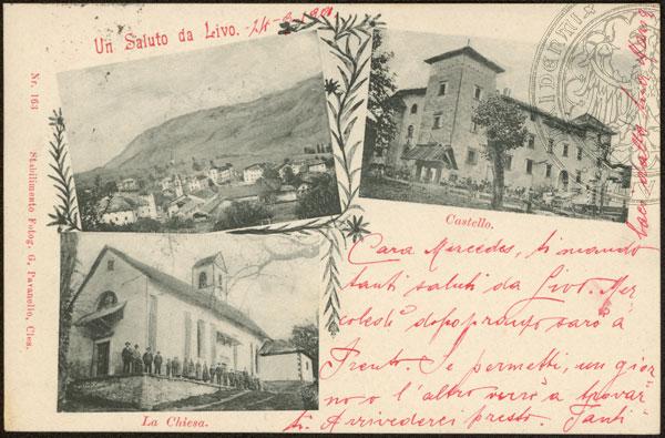 vecchie cartoline - Un saluto da Livo. 1901