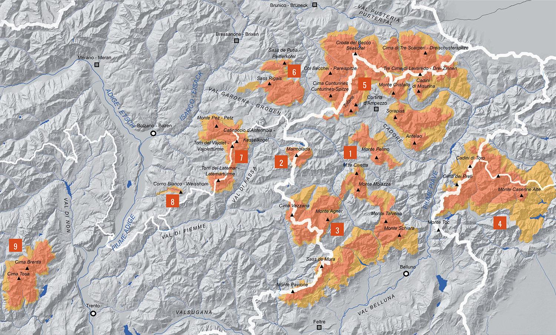 Dolomiti - mappa delle nove zone patrimonio UNESCO- credit dolomitiunesco.info