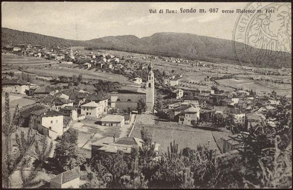 vecchie cartoline Alta Val di Non - Fondo verso Malosco 1927