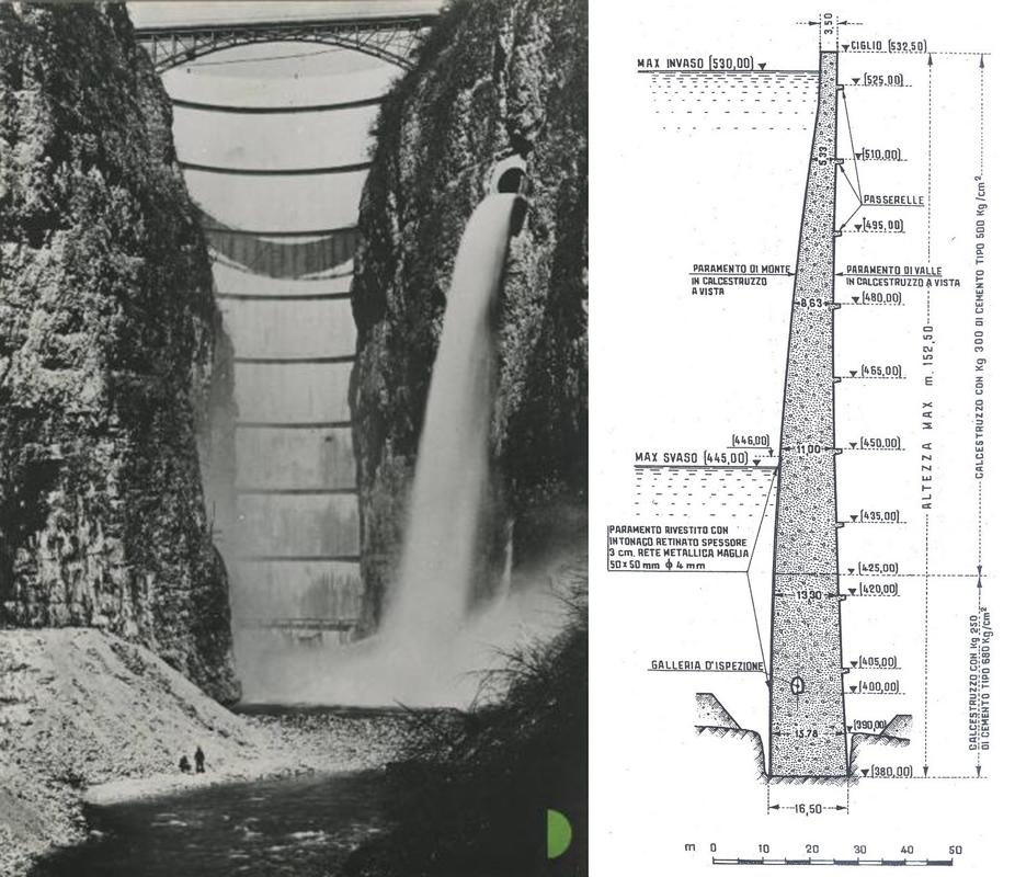 diga Santa Giustina- scarico di mezzofondo in funzione - sezione tecnica