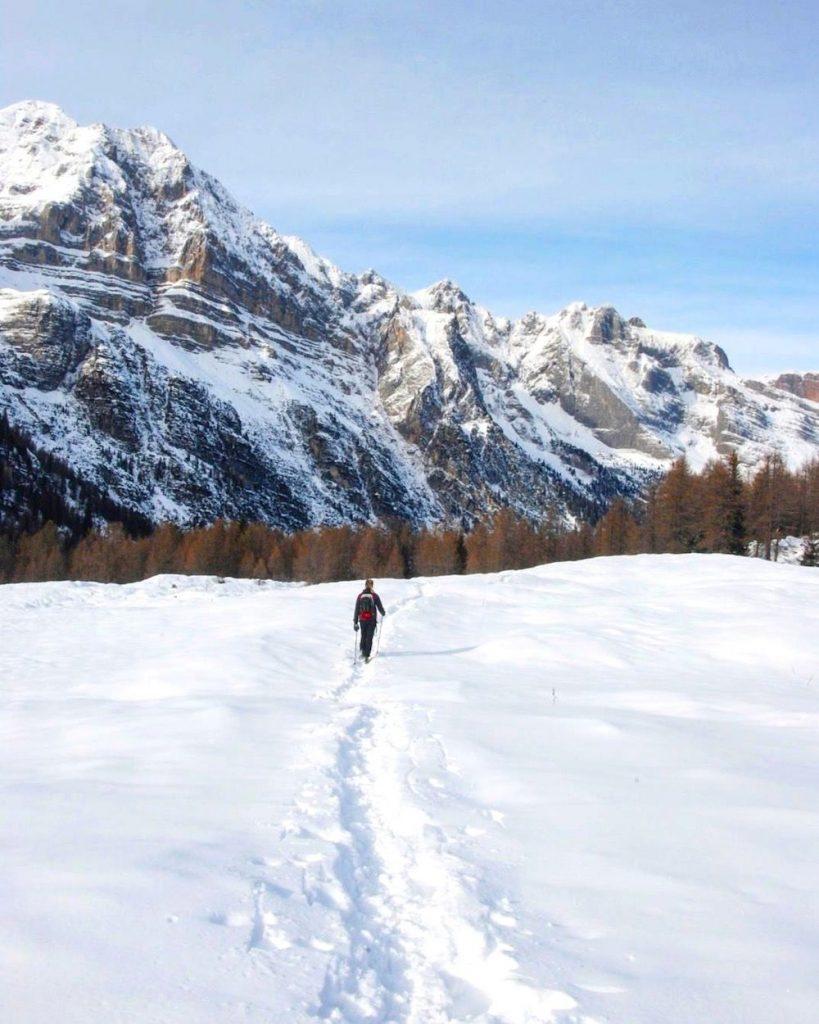 camminare nella neve-malga flavona