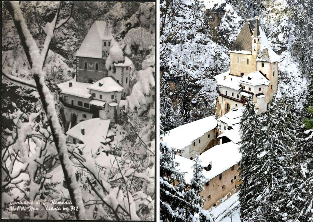 cartolina san romedio in inverno