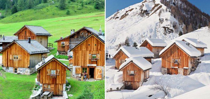 confronto estate inverno in trentino-rifugio fuciade