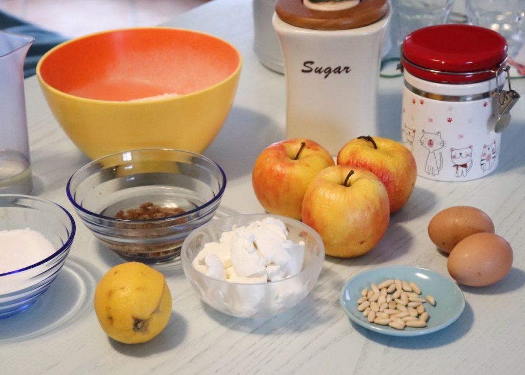 ingredienti mele ricotta pinoli