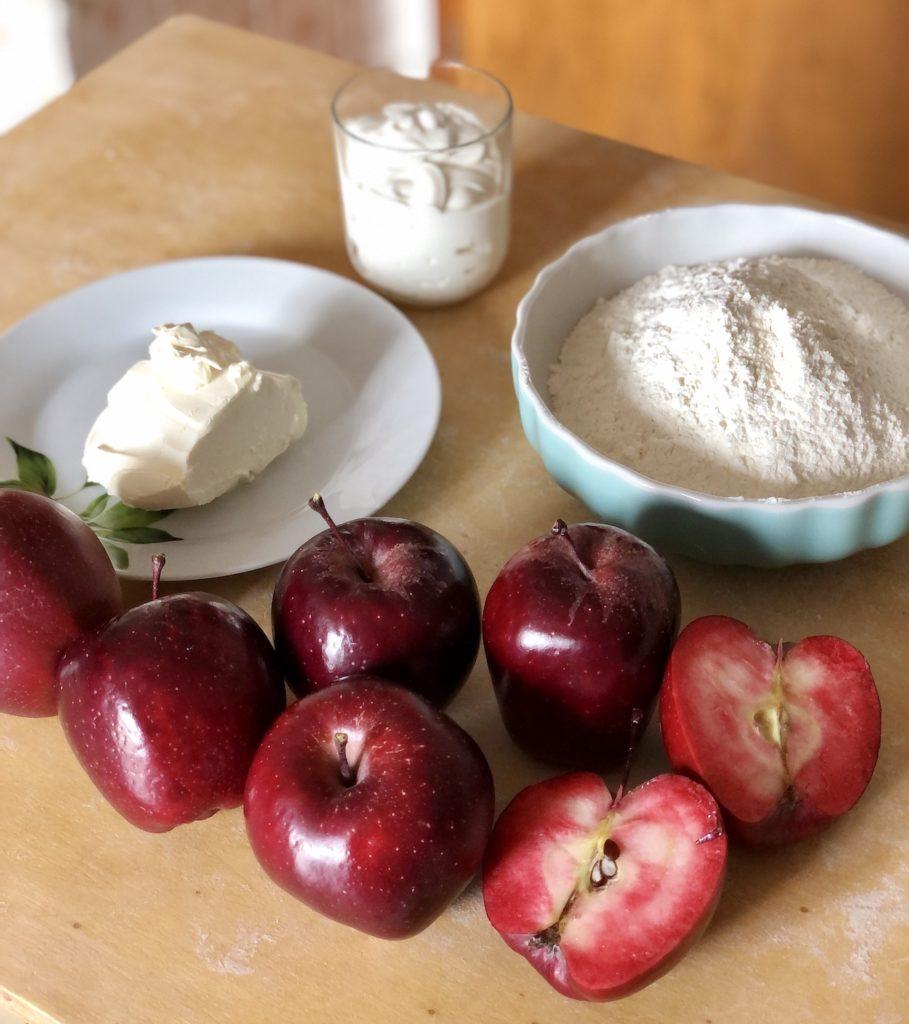 ingredienti per strudel con impasto alla panna