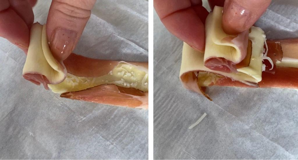 alberelli di pasta sfoglia con speck