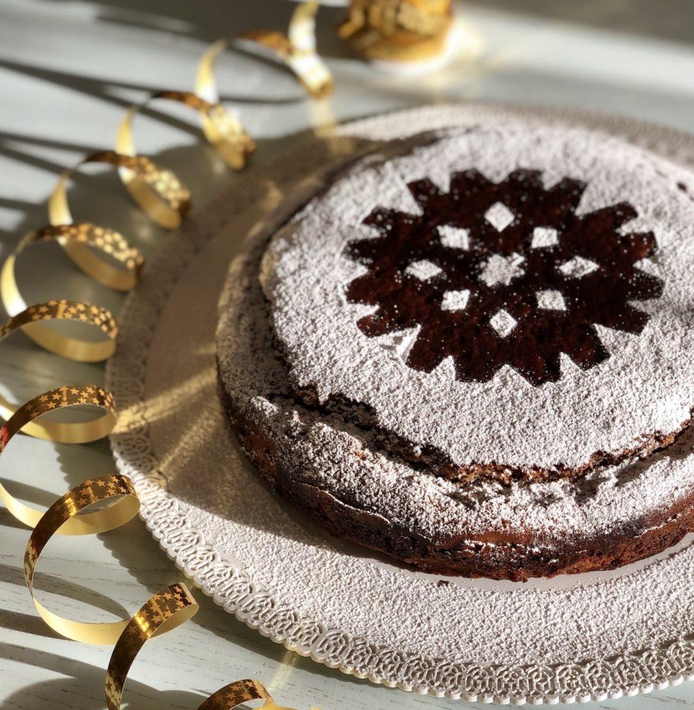 torta ricotta e cioccolato con zucchero a velo