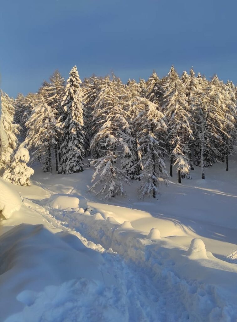 sentiero per corno di tres neve