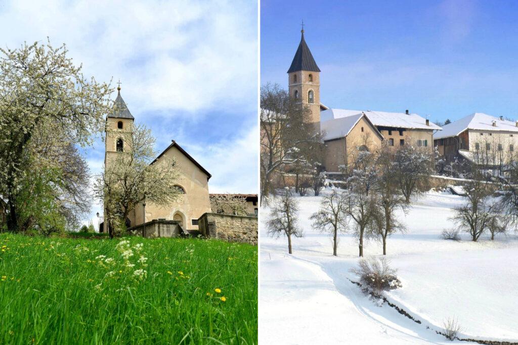 ronzone-paesi in val di non a confronto estate inverno