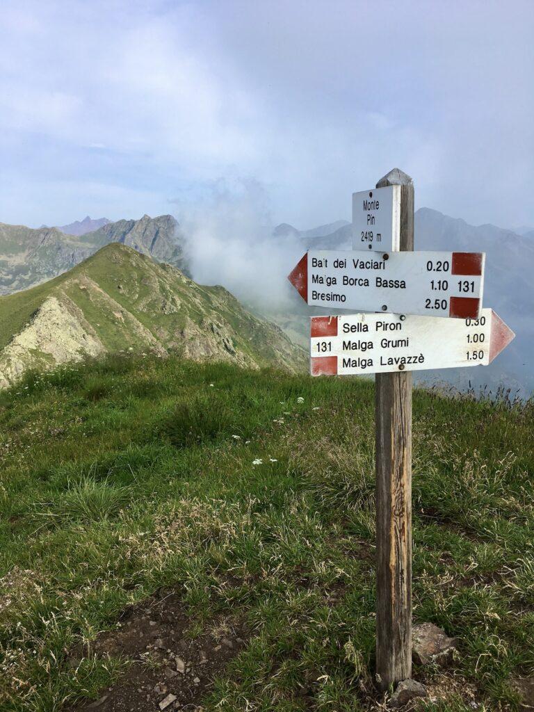 sentiero 131 monte pin val di non